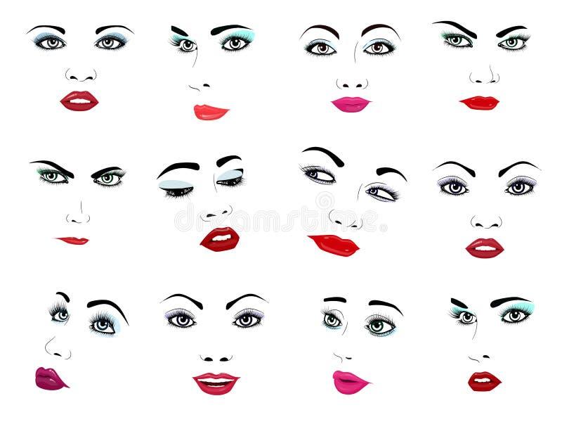 Ansiktsbehandlingen för ståenden för kvinnaframsidavektorn vände mot den kvinnliga eller flickaskönhetmode omsorg och härliga kvi royaltyfri illustrationer