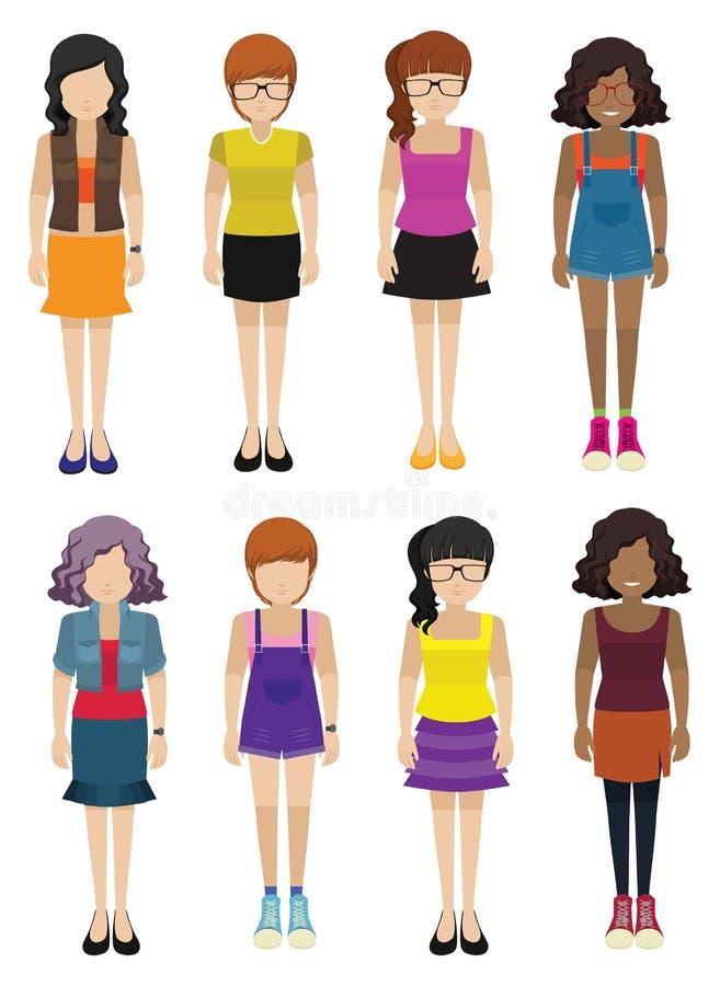 Ansiktslösa damer som bär innegrejklänningar vektor illustrationer