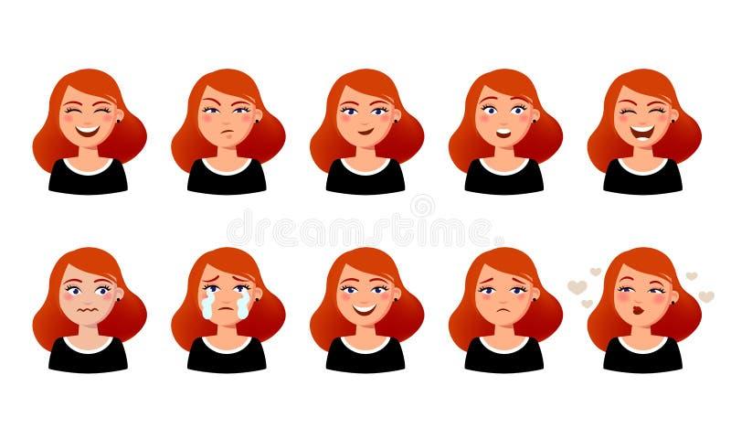 Ansiktsuttryck för kvinna s Gullig flicka med den olika illustrationen för sinnesrörelsevektorlägenhet Tio emotionella framsidor  vektor illustrationer
