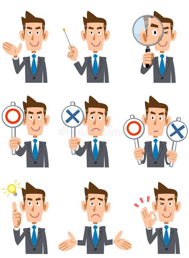 9 ansiktsuttryck och gester av affärsmän royaltyfri illustrationer