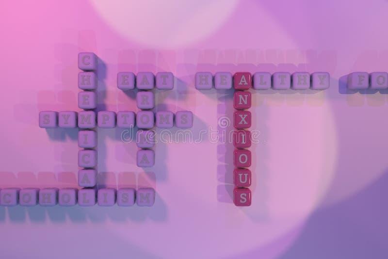Ansioso, crucigrama de la palabra clave de la salud Para la p?gina web, el dise?o gr?fico, la textura o el fondo representaci?n 3 libre illustration