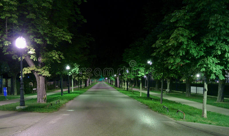 Anska Aleja Zagreb do  de VrapÄ na noite imagem de stock royalty free