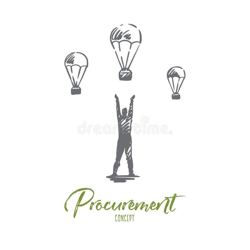 Anskaffning affär, kund, processbegrepp Hand dragen isolerad vektor stock illustrationer