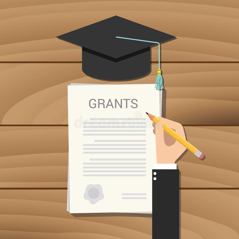Anslags- högskola för dokument för stipendiumbegreppsskrivplatta arkivbild