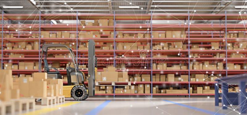Anslutning över gods för ett lager lagerför tolkningen för bakgrund 3d stock illustrationer