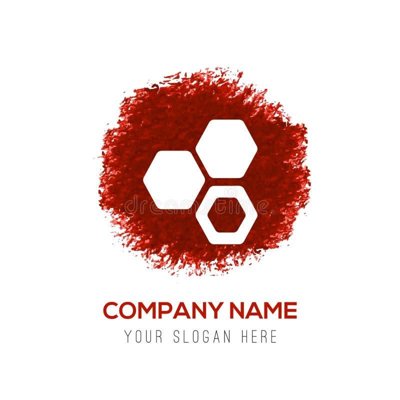 anslutning av cellmolekylsymbolen - röd vattenfärgcirkel pladask royaltyfri illustrationer