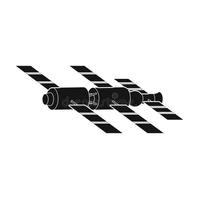 Anslutning av en rymdstation i omlopp Symbol för singel för utrymmeteknologi royaltyfri illustrationer