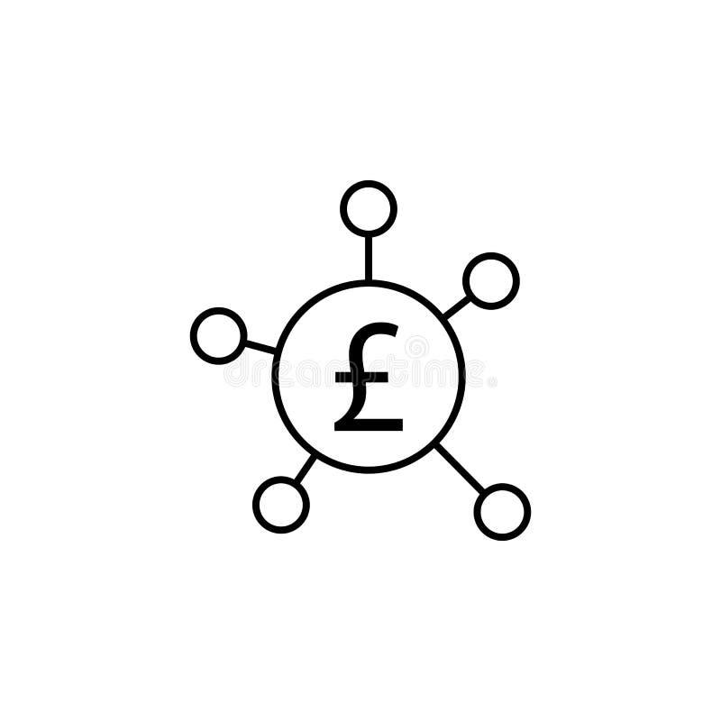 Anslutning cirkel, pundsymbol Beståndsdel av finansillustrationen Tecknet och symbolsymbolen kan användas för rengöringsduken, lo vektor illustrationer