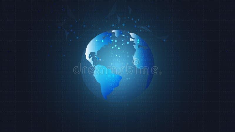 Anslutning för det globala nätverket som är poly med att förbinda, pricker och fodrar lågt bakgrund royaltyfri illustrationer
