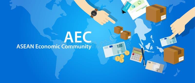 Anslutning för ekonomisk gemenskap för AEC-ASEAN av sydostliga asiatiska nationer stock illustrationer