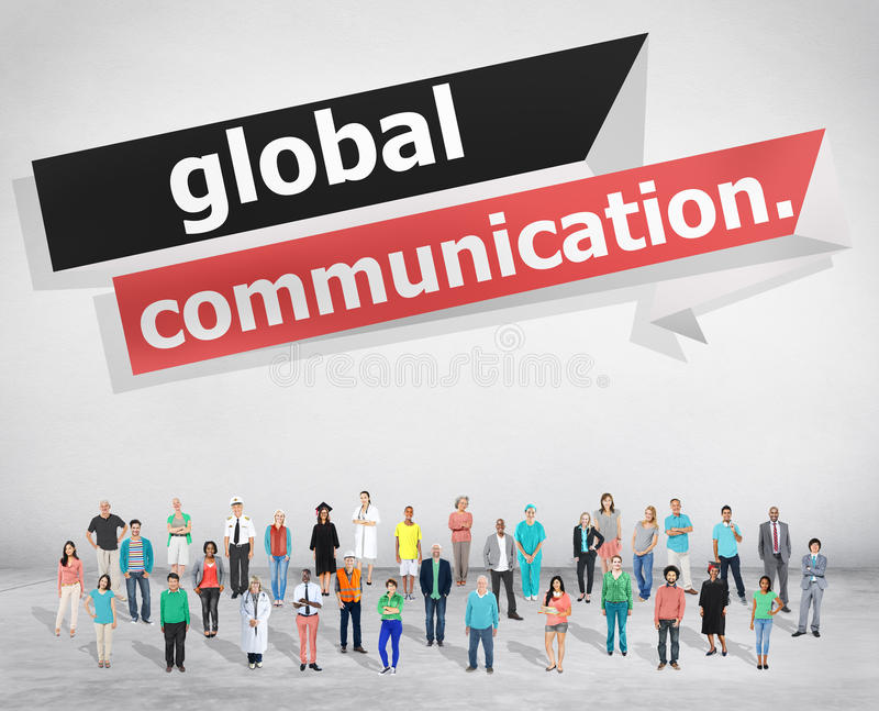 Anslutning för globala kommunikationer meddelar begrepp royaltyfria bilder