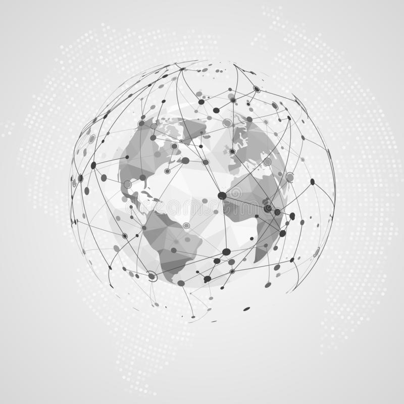 Anslutning för globalt nätverk Abstrakt Digital Big Data textur Polygonal världskartapunkt och linje sammansättning royaltyfri illustrationer