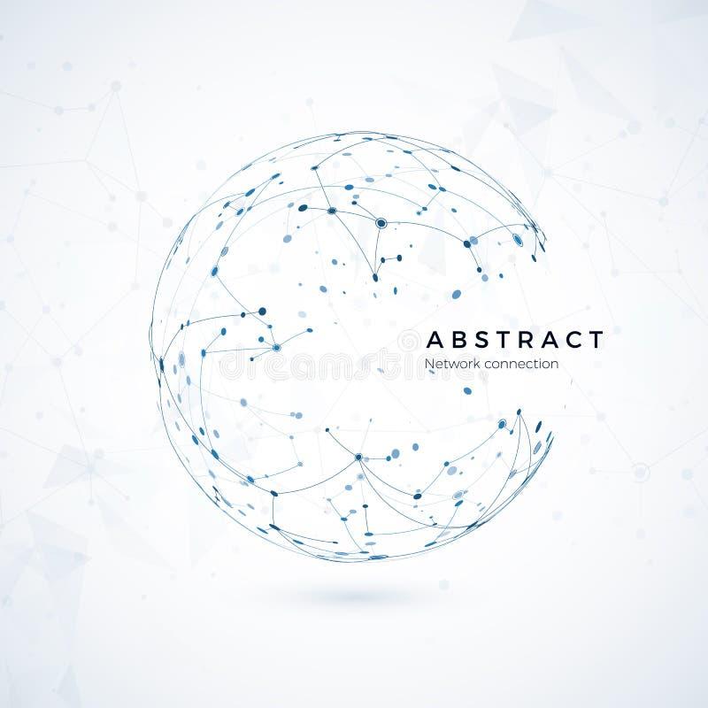 Anslutning för globalt nätverk Abstrakt världswireframe, punkt och linje sammansättningsbegrepp av globalt netto royaltyfri illustrationer