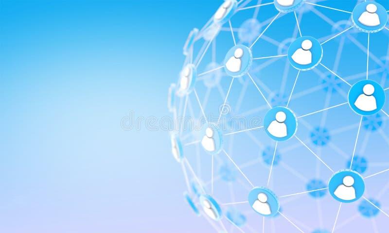 Anslutning för globalt nätverk, kommunikationsfolk vektor illustrationer