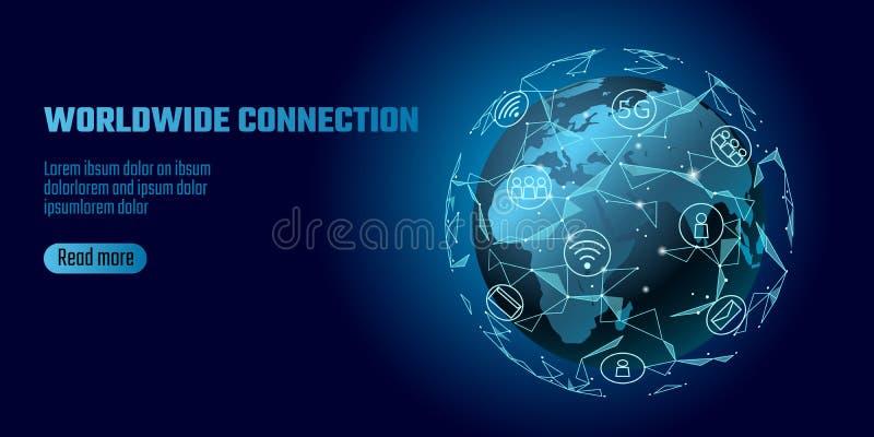 Anslutning för globalt nätverk Linje världsomspännande informationsteknikdatutbyte för världskartaEuropa Afrika återhållsam punkt vektor illustrationer