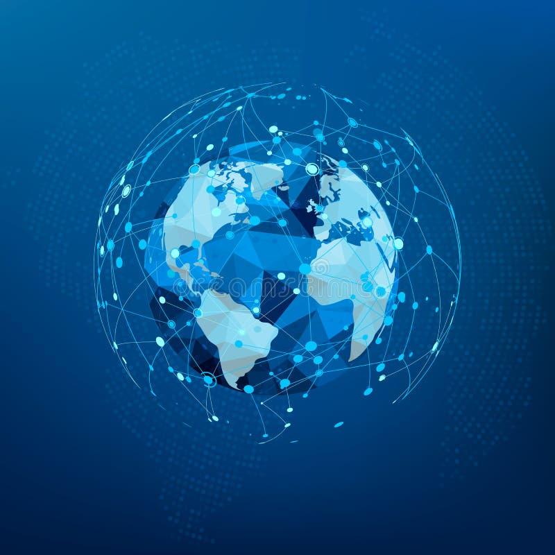 Anslutning för globalt nätverk Polygonal världskarta Prickar och linjer world wide webstruktur också vektor för coreldrawillustra vektor illustrationer