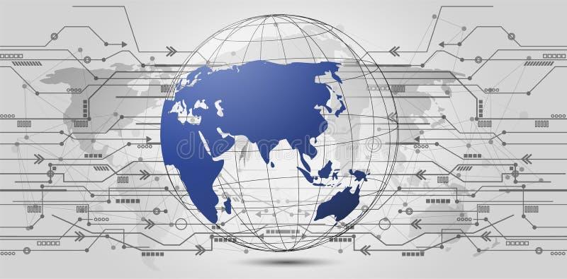 Anslutning för globalt nätverk Världskartapunkt och linje sammansättning stock illustrationer