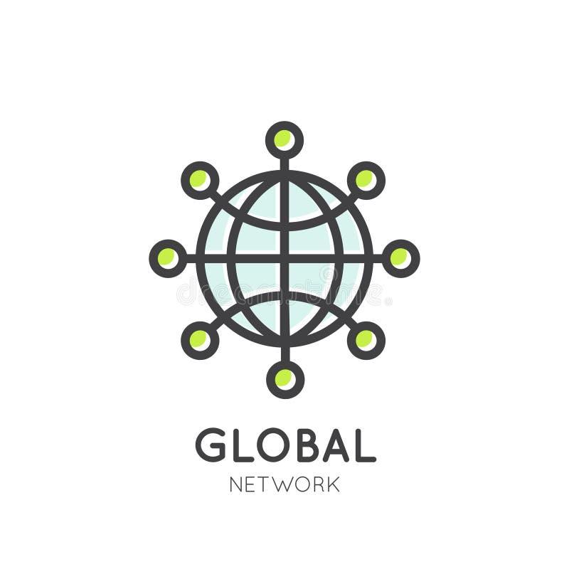 Anslutning för globalt nätverk via world wide web stock illustrationer