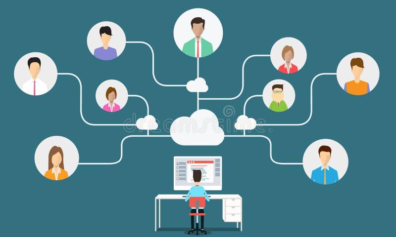 anslutning för kommunikation för affärsman till affären royaltyfri illustrationer