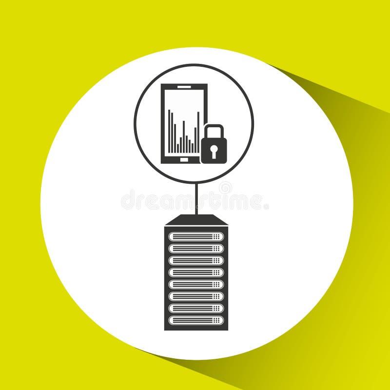 Anslutning för mobiltelefonskyddsdatorhall vektor illustrationer