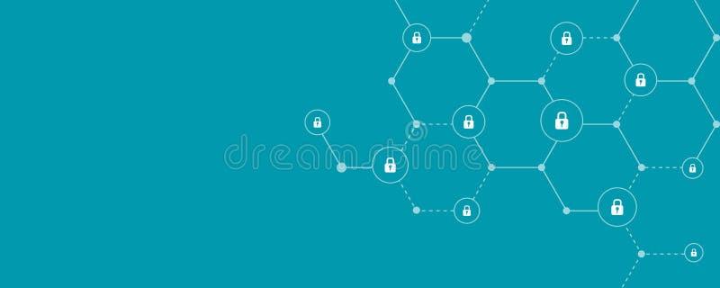 Anslutning för säkerhet för affärsinternetonline-cyber stock illustrationer
