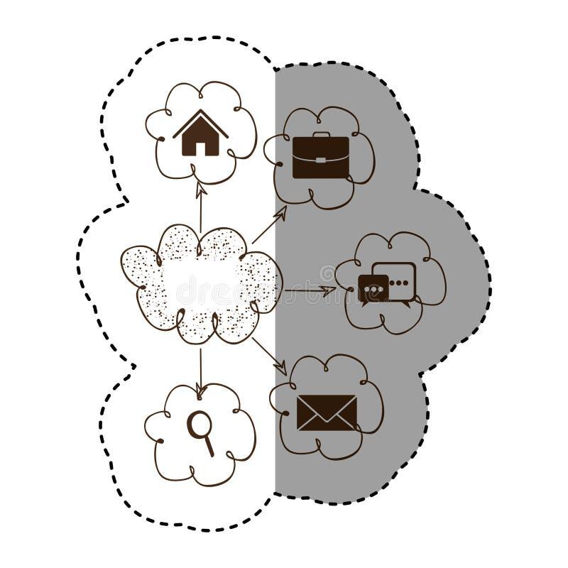 anslutning för service för nätverk för konturmolnsymboler vektor illustrationer