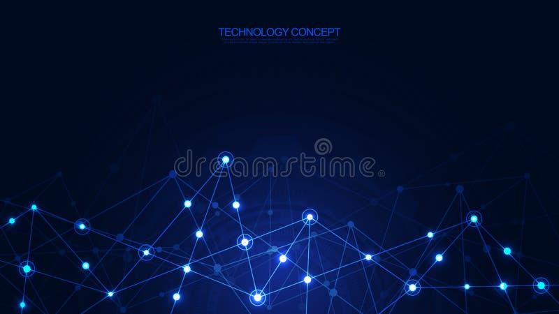 Anslutning f?r globalt n?tverk Abstrakt geometrisk bakgrund med att f?rbinda pricker och fodrar Digital teknologi och royaltyfri illustrationer