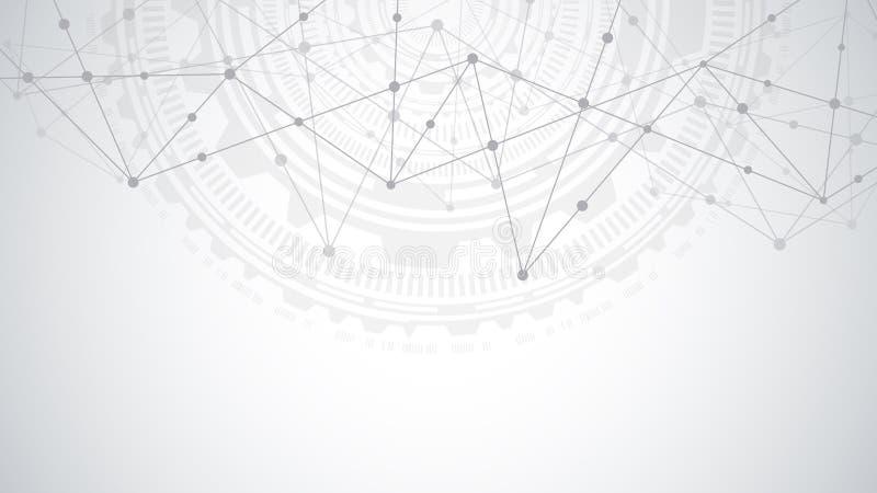 Anslutning f?r globalt n?tverk Abstrakt geometrisk bakgrund med att f?rbinda pricker och fodrar Digital teknologi och vektor illustrationer