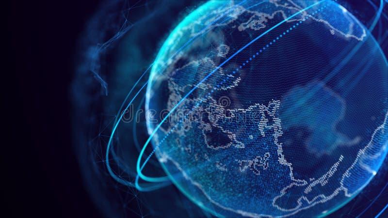 Anslutning f?r globalt n?tverk V?rldskartapunkt F?rest?lla det globalt abstrakt teknologi f?r bakgrundsanslutningsn?tverk framf?r royaltyfri illustrationer