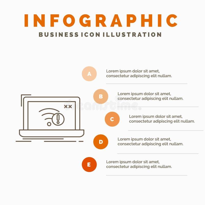 anslutning, fel, internet, borttappad, internetInfographics mall f?r Website och presentation Linje gr? symbol med apelsinen vektor illustrationer