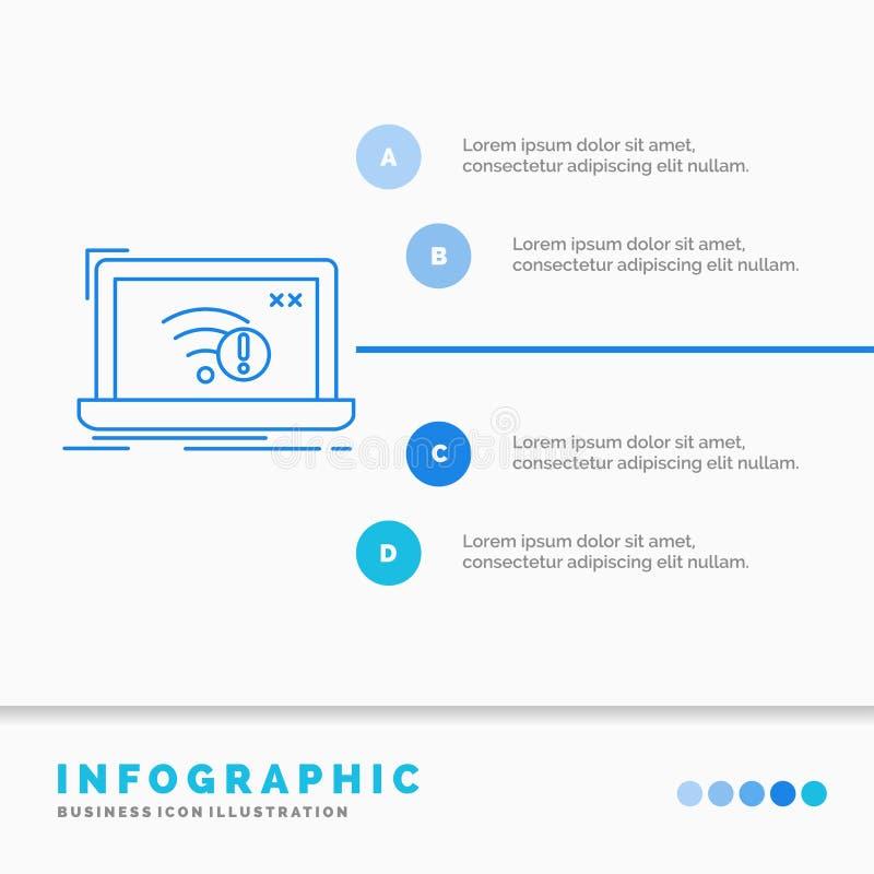 anslutning, fel, internet, borttappad, internetInfographics mall f?r Website och presentation Linje infographic stil f?r bl? symb vektor illustrationer