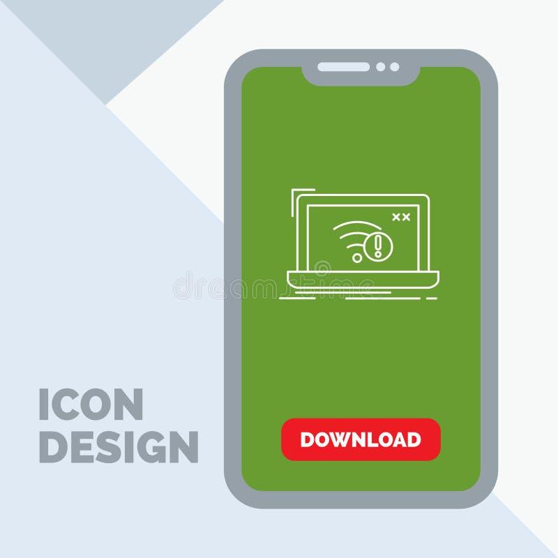 anslutning fel, internet som är borttappad, internetlinje symbol i mobilen för nedladdningsida royaltyfri illustrationer