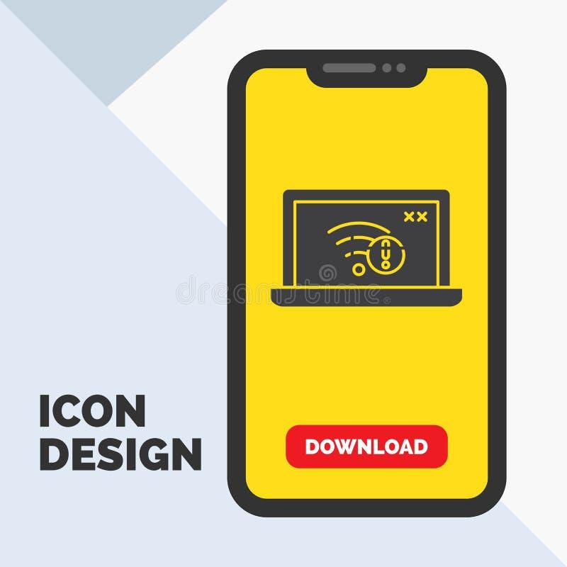 anslutning fel, internet som är borttappad, internetskårasymbol i mobilen för nedladdningsida Gul bakgrund vektor illustrationer