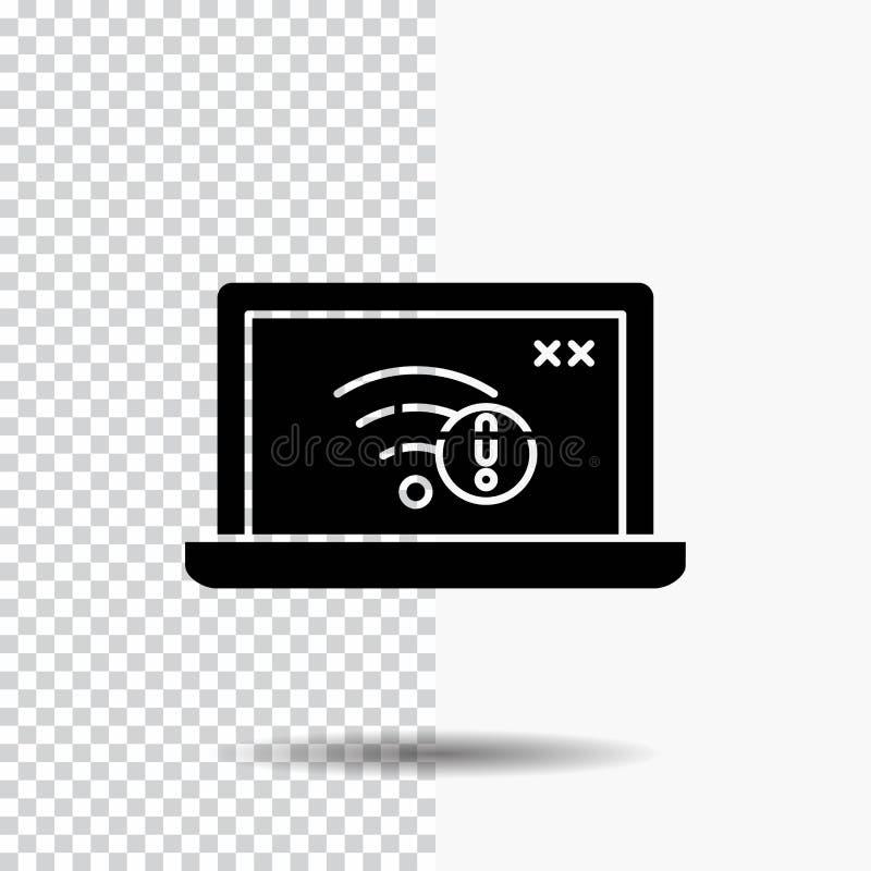 anslutning fel, internet som är borttappad, internetskårasymbol på genomskinlig bakgrund Svart symbol stock illustrationer