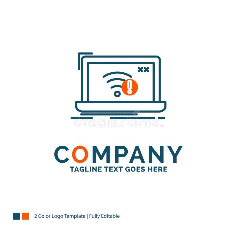 anslutning fel, internet som är borttappad, internet Logo Design r royaltyfri illustrationer