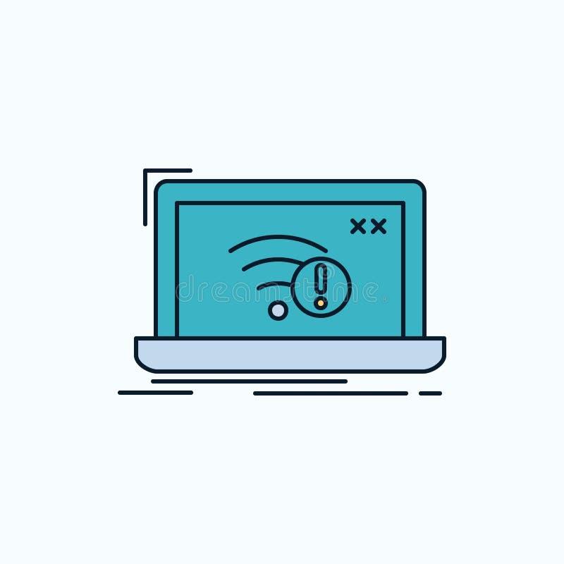 anslutning fel, internet som är borttappad, plan symbol för internet gr?nt och gult tecken och symboler f?r website och mobil app royaltyfri illustrationer