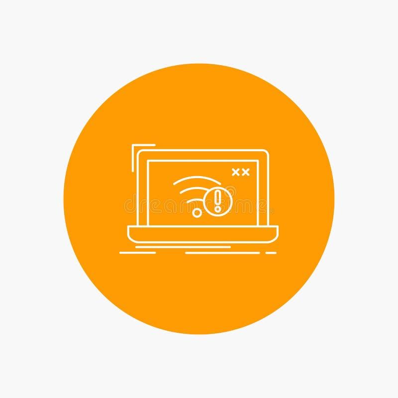 anslutning fel, internet som är borttappad, vit linje symbol för internet i cirkelbakgrund Vektorsymbolsillustration royaltyfri illustrationer