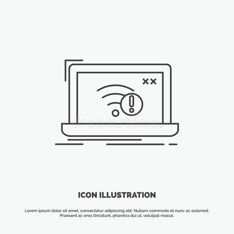 anslutning fel, internet som ?r borttappad, internetsymbol Linje gr?tt symbol f?r vektor f?r UI och UX, website eller mobil appli royaltyfri illustrationer