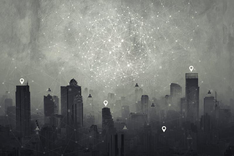 Anslutning fodrar symbolen på cityscapebakgrund Svartvit t vektor illustrationer