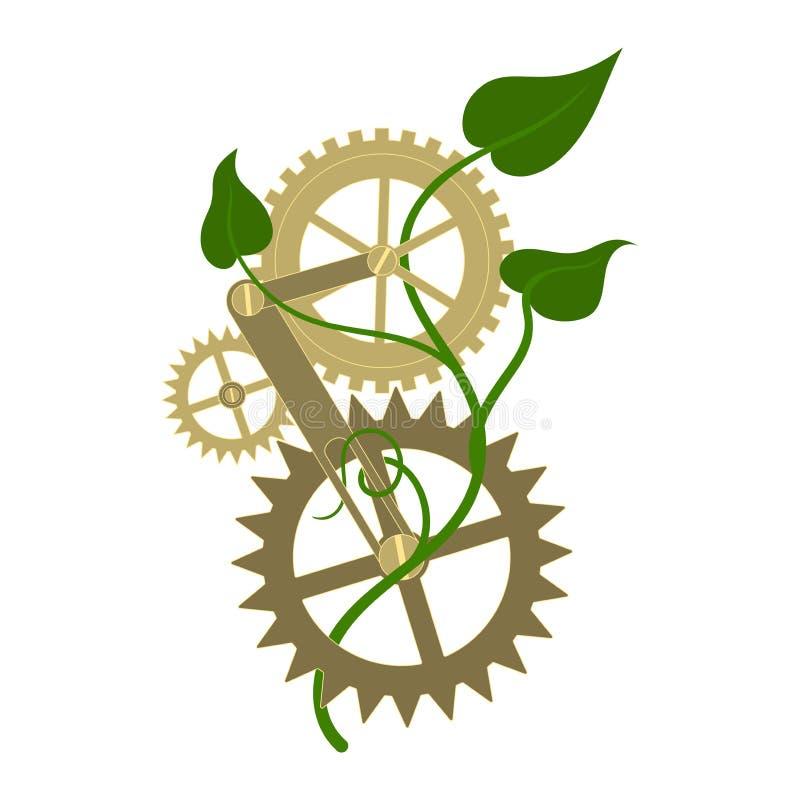 Anslutning fr?n den metallkugghjul och v?xten Symbol emblem royaltyfri illustrationer