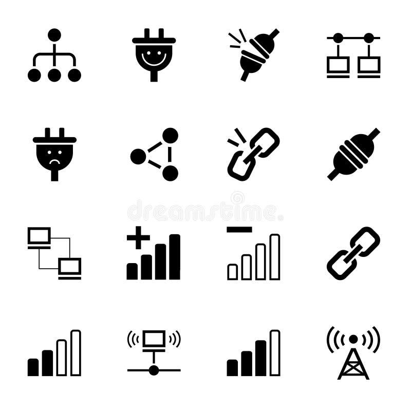 Anslutning ingen anslutning, symbol, monokrom, vektor vektor illustrationer