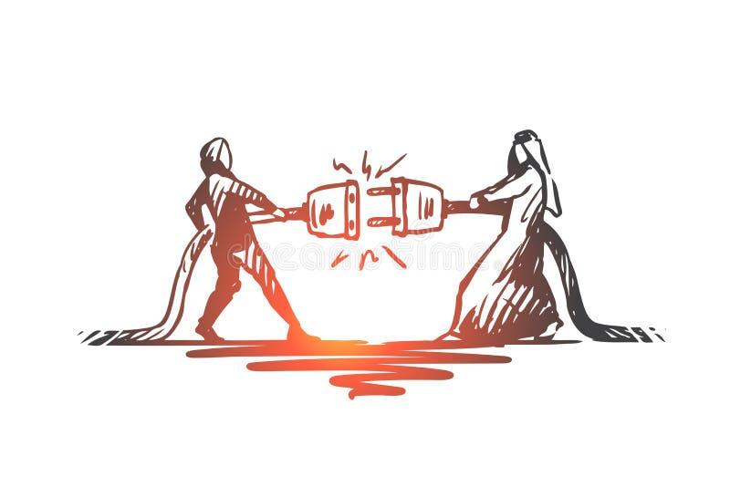 Anslutning partnerskap, synergi, tillsammans, muslimbegrepp Hand dragen isolerad vektor vektor illustrationer