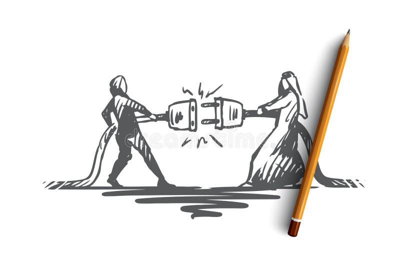 Anslutning partnerskap, synergi, tillsammans, muslimbegrepp Hand dragen isolerad vektor stock illustrationer