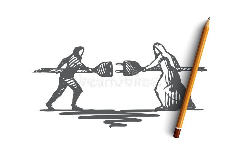 Anslutning partnerskap, synergi, tillsammans, samarbetsbegrepp Hand dragen isolerad vektor royaltyfri illustrationer