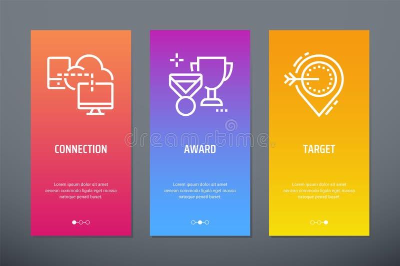Anslutning utmärkelse, vertikala kort för mål med starka metaforer vektor illustrationer