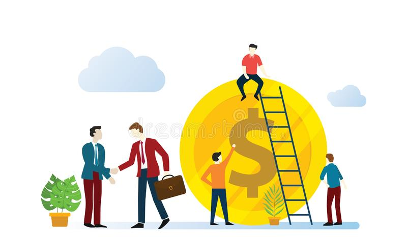 Anslutningaffärsöverenskommelse med laget av affärsmannen som tillsammans arbetar för kreditinstitut vektor illustrationer