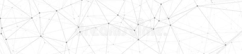 Anslutningar för Digitalt nätverk, det gråa idérika grafiska banret förband prickar och linjer vektorillustrationen, vit bakgrund stock illustrationer