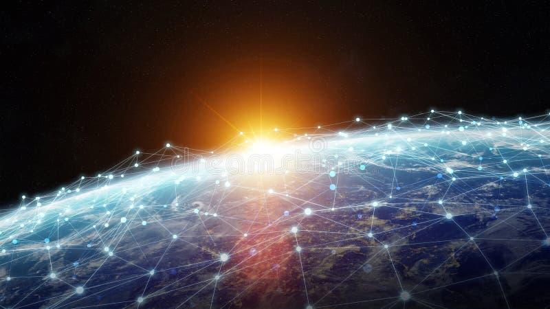 Anslutningar system och datautbyten på planetjord 3D framför royaltyfri illustrationer