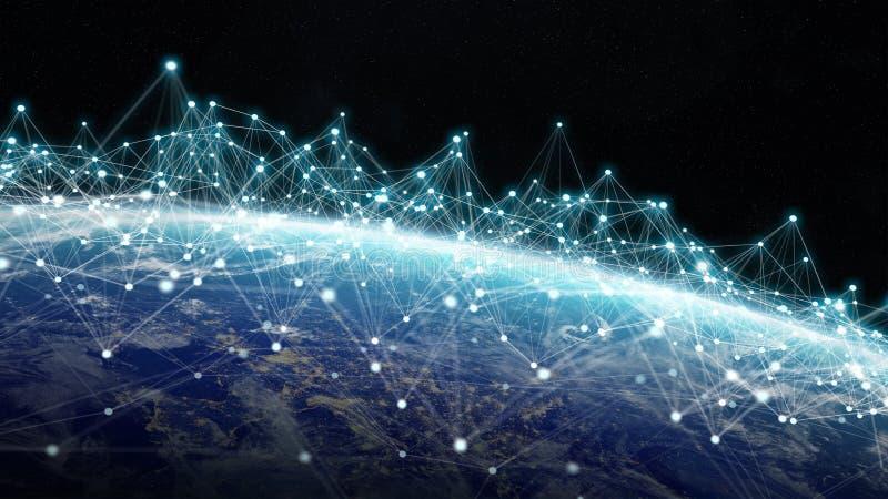 Anslutningar system och datautbyten på planetjord 3D framför vektor illustrationer