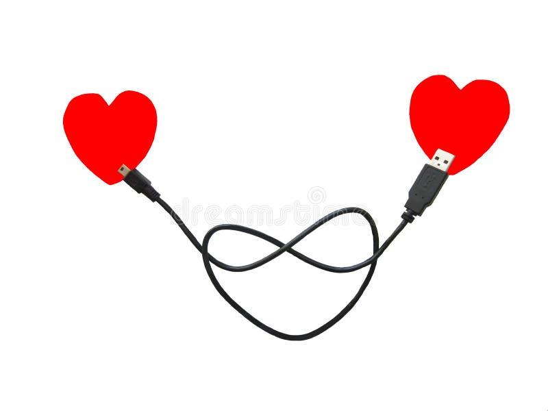 Anslutningen av två hjärtor via en USB kabel Älska hjärtor på kabeln royaltyfri fotografi